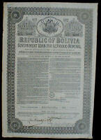 Republic of Bolivia 6% Government Loan 100 £ Bond to Bearer 1871 uncancelled