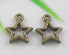 50pcs Tibetan Bronze Five-pointed Star Charms Pendants 10x13mm (Lead-free)