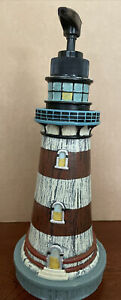 """Lighthouse Soap Dispenser with Pump 9""""~Distressed Wood~Red & White Striped"""