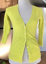 NWT J.Crew Cashmere Cardigan Solid Bright Lemon Yellow XXS 2XS 3/4 Sleeves