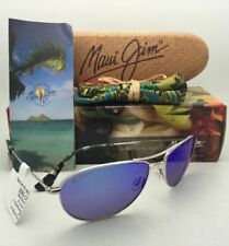 Polarized MAUI JIM Titanium Sunglasses Baby Beach 245-17 Silver w/ Blue Hawaii