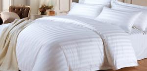 LUXURY HOTEL QUALITY COTTON SATIN WHITE STRIPE DUVET COVER SET & FITTED SHEET UK