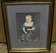 VINTAGE LITTLE BOY WITH PUPPY FRAMED PICTURE  ART SPRINGS LIMITED OF COLUMBIA