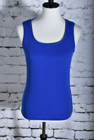 CHICO'S Size 1 (8) Medium Royal Blue Tank Blouse Ultimate Tee Fitted Stretch
