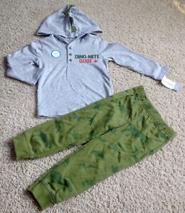 Carter's Boy Set Size 2T Casual Pants Hoodie DINO MITE DUDE New