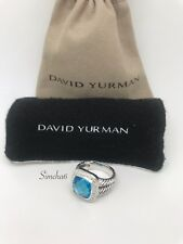 David Yurman Sterling Silver Albion Ring 11mm with Blue Topaz and Diamonds sz 7