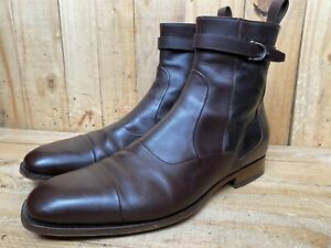 GUCCI Brown Leather Buckle Zipper Cap Toe Boot Size UK 12   US 12.5