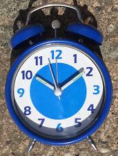 Retro Battery Alarm Clock Loud Double Bell In Blue Glow In The Dark Hands New