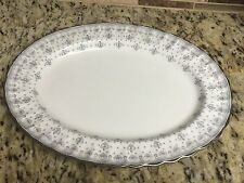 "Spode Fleur de Lys Grey Gray Oval Serving Platter 12"" Platinum Trim Bone China.E"