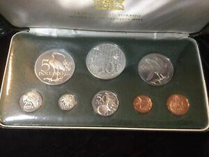 1974 Trinidad & Tabago Proof Set 8 Coin 2 Silver Original Case Franklin Mint!