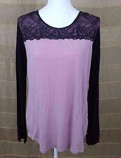 MIDNIGHT By Carole Hochman Women's Long Sleeve Blouse Lace Top Size M Lavender