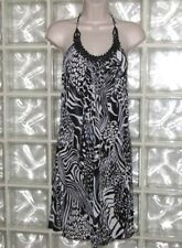 NWT A BYER SHIFT DRESS BLACK WHITE ANIMAL PRINT BEADED HALTER STRETCH SIZE S