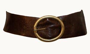 Vintage 1990s Dark Brown Genuine Leather Tapered Women's Waist Belt Brass Buckle