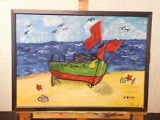 Boot am Strand Ölbild 75 x 55cm Gemälde Bild signiert