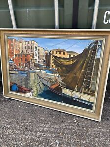 Large Oil Painting 1970s Signed Picture Wall Art Retro