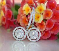 2Ct Round Cut VVS1/D Diamond Drop & Dangle Hoop Earrings 14K White Gold Finish