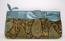 Cool Kooba Vintage pasley green clutch with leather. unique!