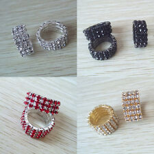 Fashion Charm Shiny 3Row Crystal Rhinestone Color Elastic Ring Wedding Jewelry