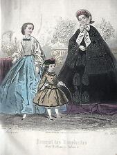 GRAVURE ANCIENNE MODE 19e - JOURNAL DES DEMOISELLES - NOVEMBRE 1861