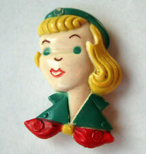 Rare Vintage 1950s Figural GIRL SCOUT PIN Novelty Broach Button Jewelry GIFT