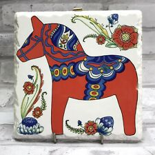 Red Dala Horse Dalahäst Trivet Tile Hot Plate Plaque Wall Hanging Sweden Sverige