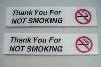 2 Thank You for Not Smoking Smoke Free Facility 8x1 3/4 Plastic Signs Peel Stick