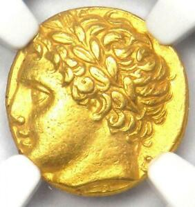 317 - 289 BC Apollo Sicily Agathocles AV gold NGC Ch XF Eternal & Enchanting