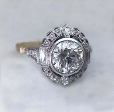 2.80 Ct Round Cut Moissanite Art Deco Bezel Engagement Ring 925 Sterling Silver