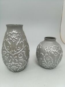 Next, Two Home Decor Vases, Grey, Embossed Pattern, shimmery, #HS