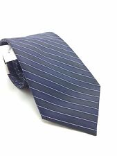 $125 CALVIN KLEIN MEN SILK STRIPED WHITE BLUE TIE SKINNY CLASSIC NECKTIE 58X3