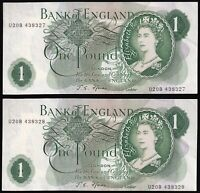Bank Of England Elizabeth II One Pound 'Consecutive Numbers' Banknotes| KM Coins