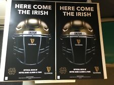 "2 Guinness Beer Notre Dame Fighting Irish Football Poster Double Sided  23""x 13"""