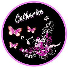BABY PINK / BLACK BUTTERFLY & FLOWER PERSONALISED - CAR TAX DISC HOLDER - NEW