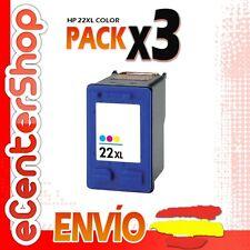 3 Cartuchos Tinta Color HP 22XL Reman HP Deskjet F2180