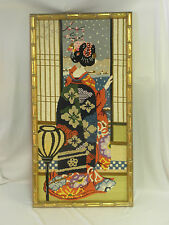 Needlepoint Oriental Geisha Girl Shoji Screen Cherry Blossom Snow Fall 0081010