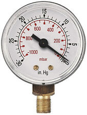 Vacuum Gauge  50mm -0VAC/1- Bar & -30*Hg 1/4 BSPT Male Bottom connection     253