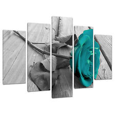 Set of 5 Teal Floral Canvas Wall Art Pictures Black White Prints 5037