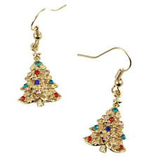 Gold Plated Christmas Tree Drop Earrings bubble snowflake Christmas gift