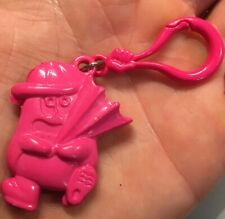 VTG 80s 3-D Pink Critter Holding Umbrella Clip On Charm For Charms Necklace