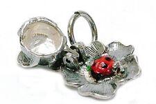 VINTAGE Argento apertura Coccinella Ciondolo in Rose
