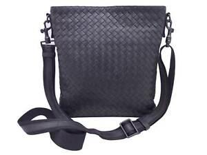 Auth BOTTEGA VENETA Intrecciato Crossbody Dark Gray Leather/Canvas - e48345a