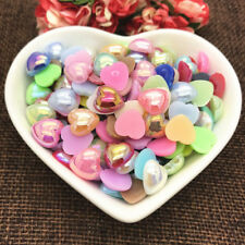 NEW 8mm 10mm Size Half Love Bead Flat Back bright beads Pearl Scrapbooking