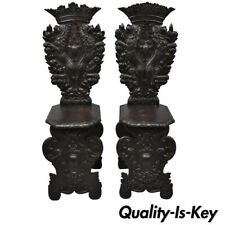 Pair of 18th Century Italian Renaissance Lion Carved Walnut Sgabello Hall Chairs