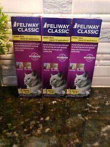 3 Feliway Classic Pheromone Spray 60 ml For Calming Cats Bundle of 3!!