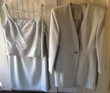 BADGLEY MISCHKA 3 Piece Skirt Suit Sz 12 Evening Wedding Beaded Top, List $2,100
