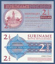 Surinam/suriname 2 1/2 dollars 2004 unc p.156