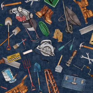 QT A Little Handy Tool Toss Navy28195W 100% COTTON Fabric CRAFT/QUILTING per1/4m