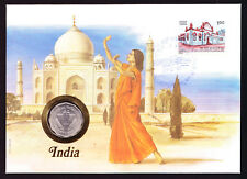 1988 India stamp & coin on cover Asian Asia Dancer Architecture Building Indian