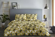 Fusion Geo Geometric Easy Care Duvet Cover Bedding Set Grey & Ochre