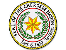 4x4 inch ROUND Seal of the Cherokee Nation Sticker -decal tribe indian band logo